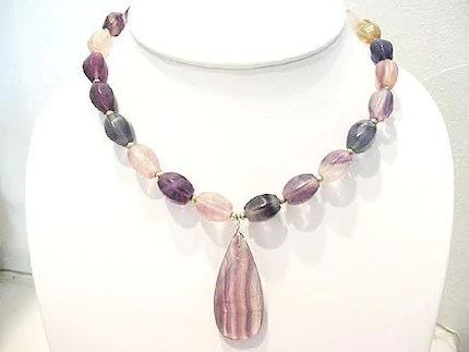 Faceted Rainbow Flourite Nuggets Pendant Necklace