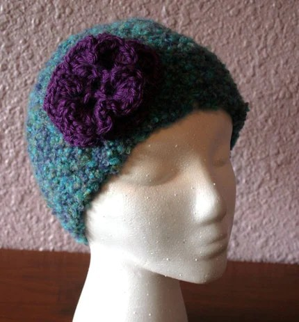 One of my favorite hats--an extra-soft boucle crochet with flower!