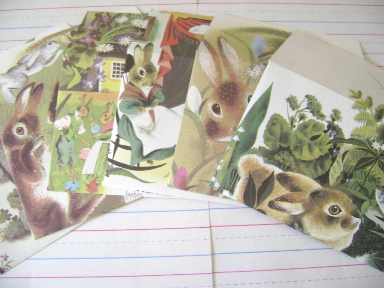 Bunny Notes , Handmade Eco Friendly Stationery Set , Set of 6