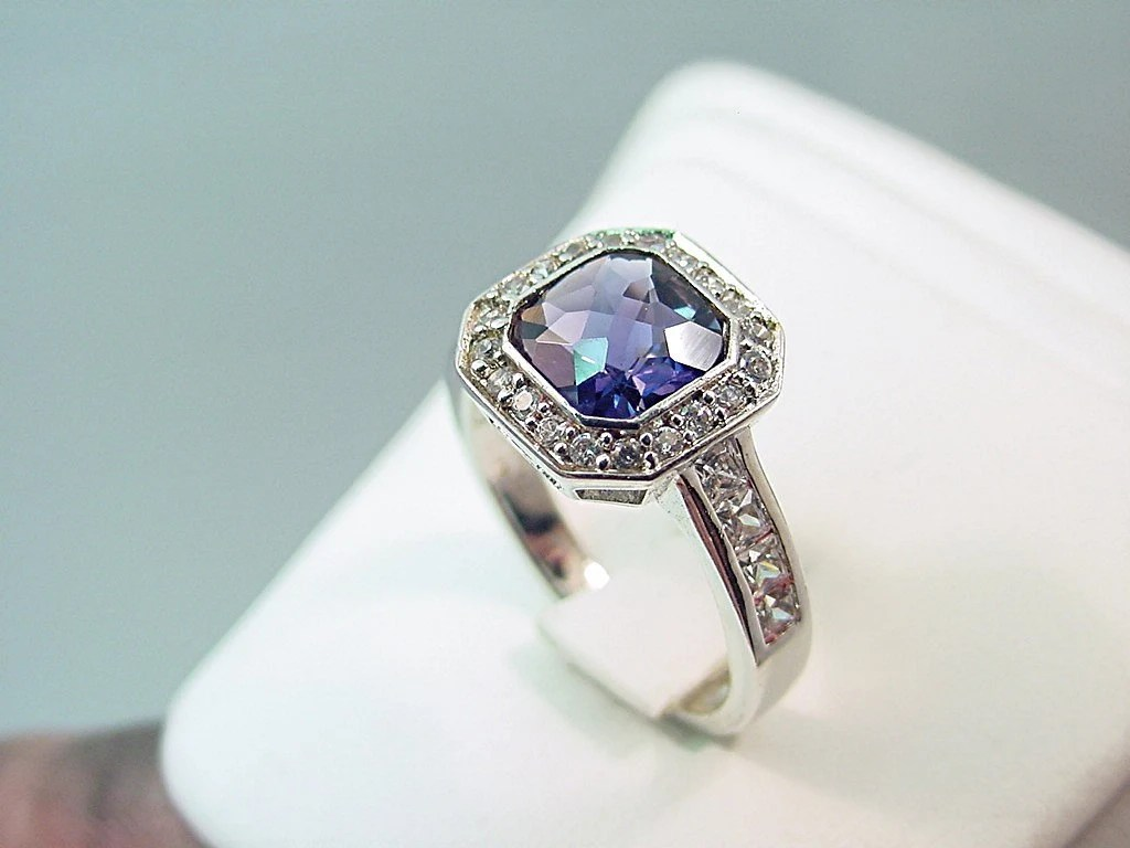 Checkerboard cut 7x7mm Blue Iolite 1.06 carats set in 14K white gold and diamond ring .60 carats 0283
