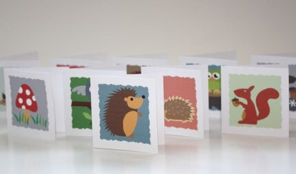 Hedgehogs and Woodland Friends Mini Notes