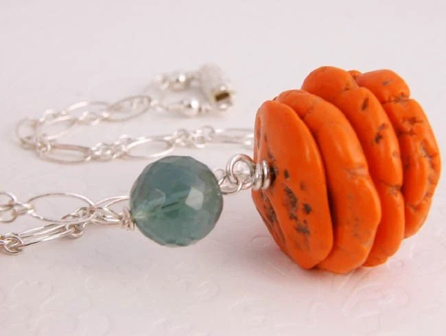 SALE - Pumpkin Coral - Organic Bamboo Coral Stones, Teal Green Fluorite and Sterling Silver Necklace