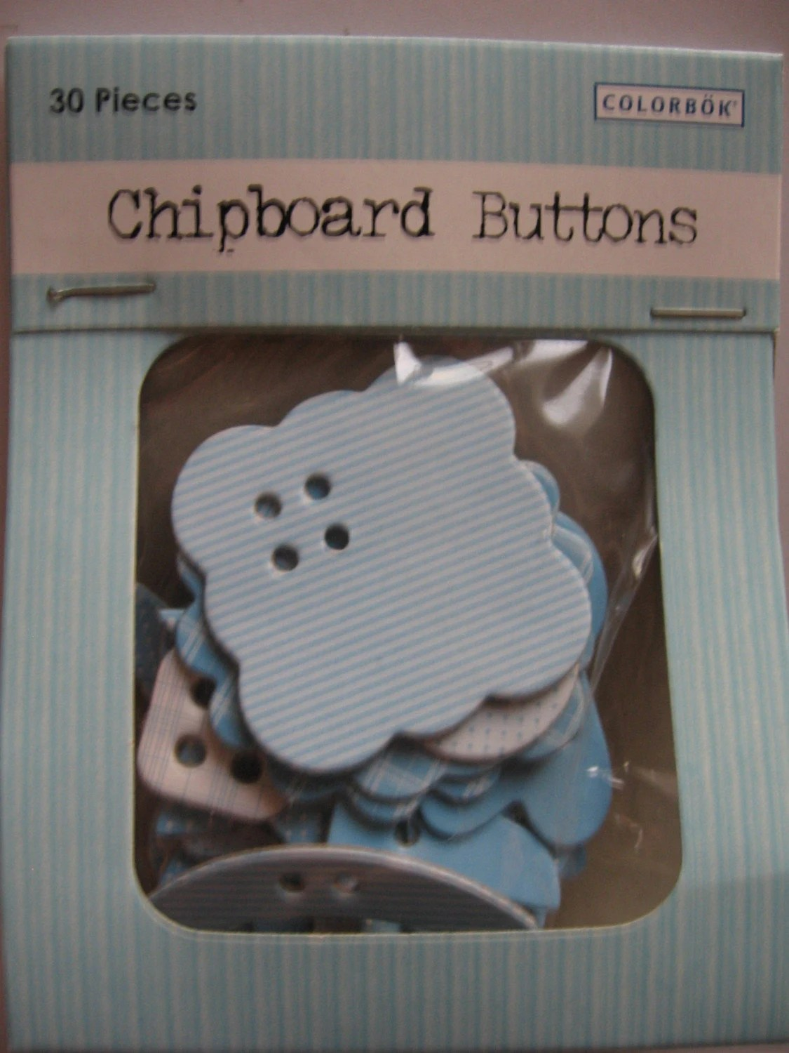 Blue Chipboard Buttons - Set of 30