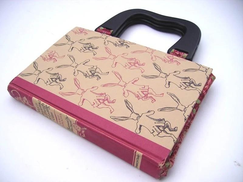 DO NOT BUY- Retro Alice in Wonderland Book Handbag- Beige and Pink