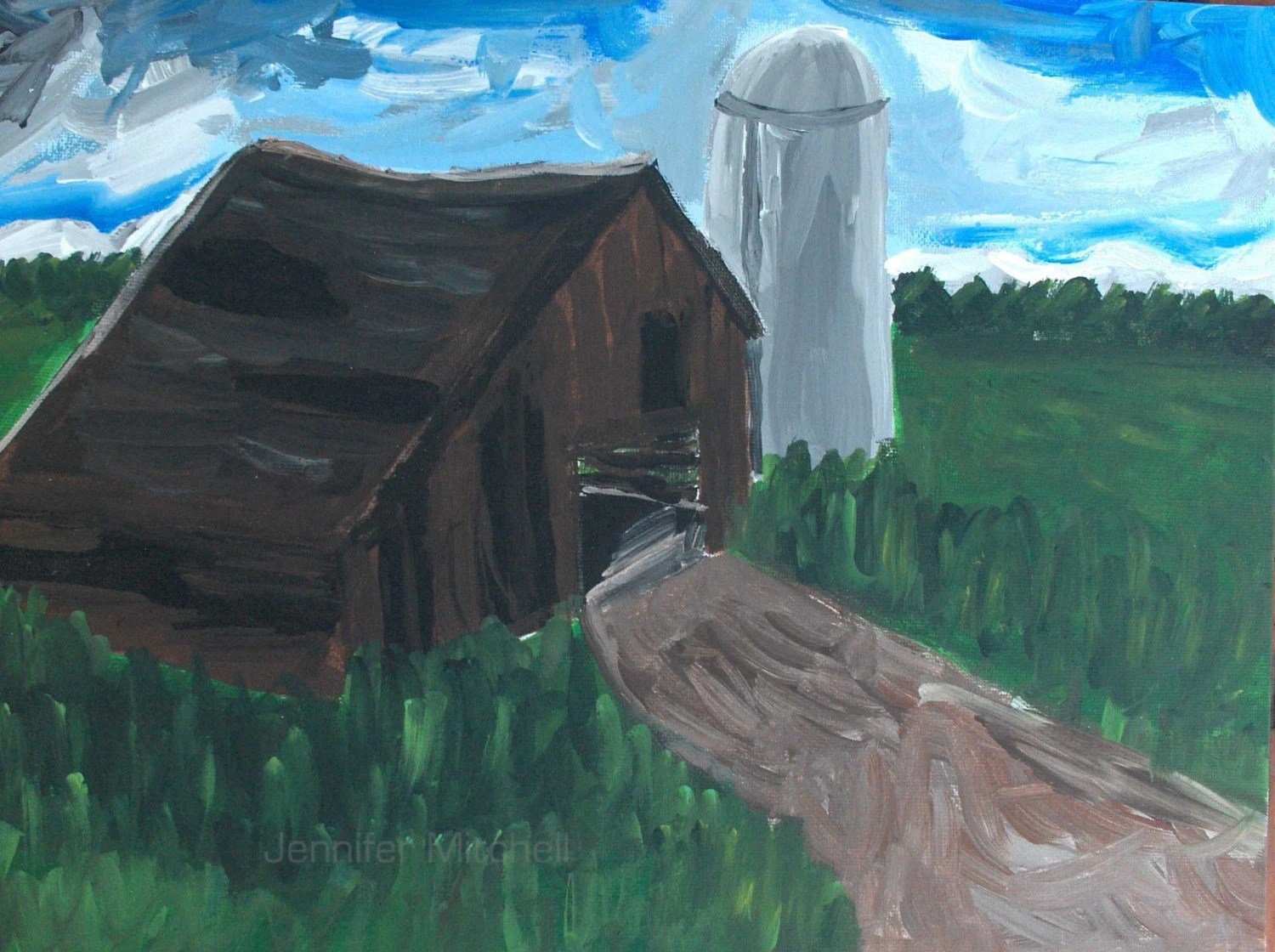 Jensywensy created this original acrylic painting, which captures some of the beauty in the American farm life.  See more of this Etsians work at http://www.etsy.com/shop.php?user_id=7458499