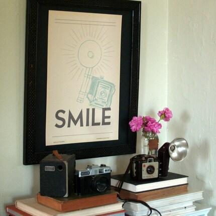 Smile Handprinted Letterpress Poster by rollandtumblepress