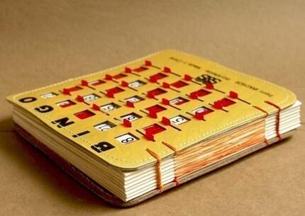 Recycled BINGO Game Sketchbook Journal