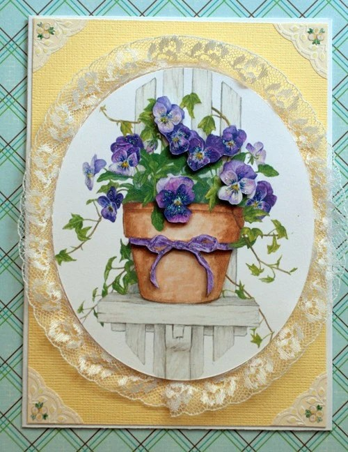 Sweet Potted Pansy Greeting Card