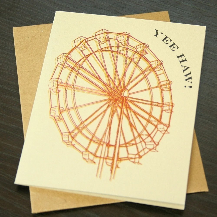 Yee Haw Ferris Wheel Gocco Art Card
