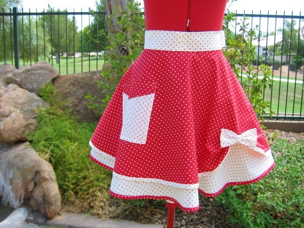 Cherry Red Polka Dot - Scarlett  - Southern Belle Chic Half Apron