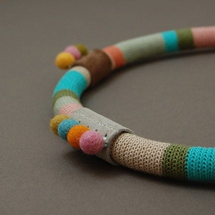 Felt and crochet necklace