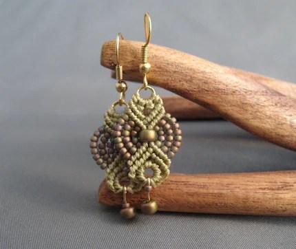 Matte Metallic Khaki Iris Earrings