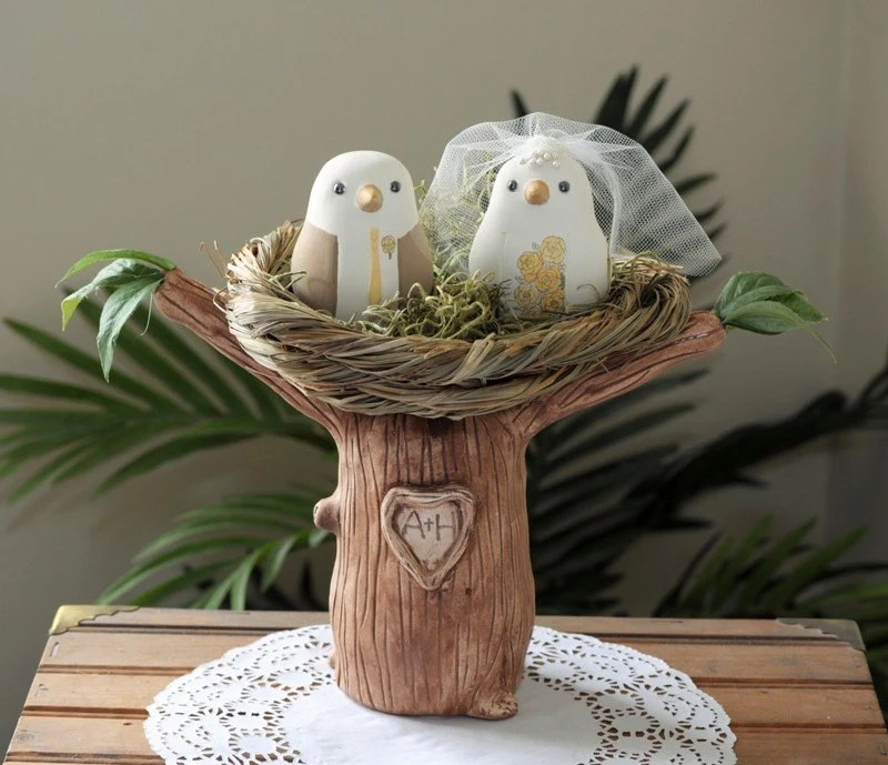 Custom Wedding Cake Topper - Love Birds Tree with Nest - Hand Sculpted