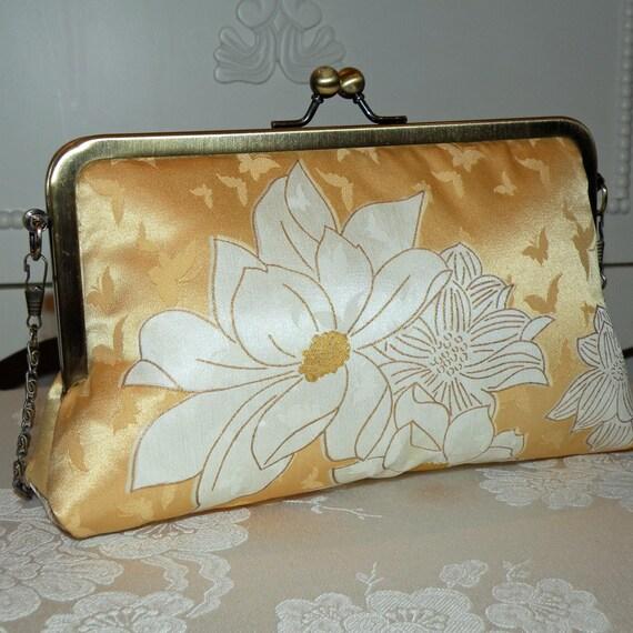 Silk Kimono Clutch/Purse/  Sunshine / Peony / Butterflies
