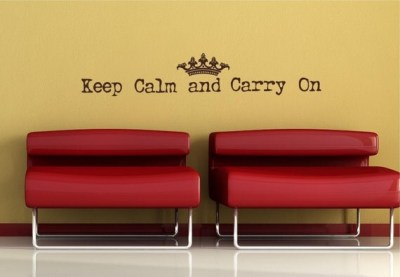 65x12  Keep Calm and Carry On with crown Vinyl Decor Wall Lettering Words Quotes Decals Art Custom Willow Creek Signs