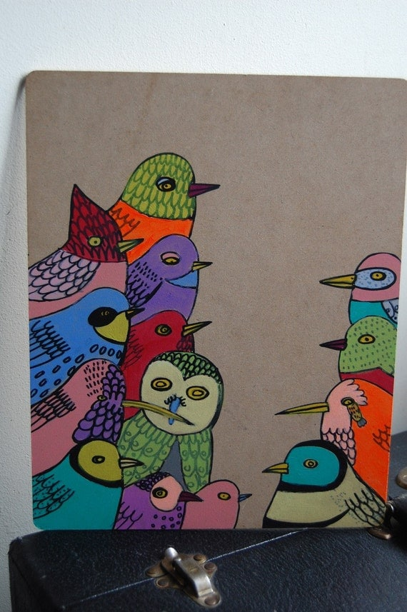 Birds on Wood Panel 3