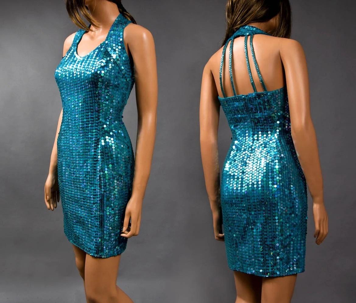 video killed the RADIO STAR. 1980s AQUA SEQUIN body con CAGE BACK vintage mini dress (S/M)