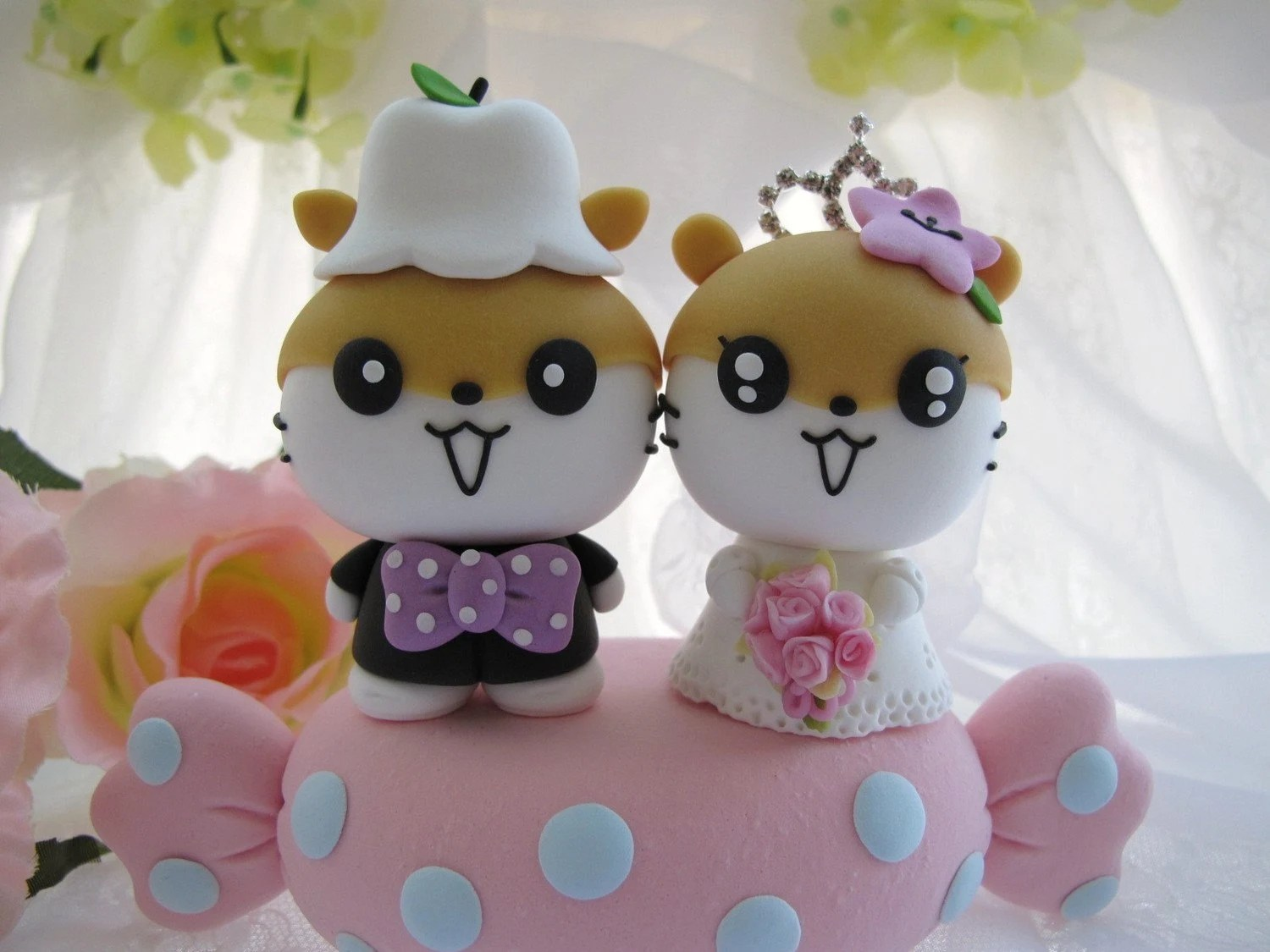 LOVE ANGELS Wedding Cake Topper - lovely and cute hamster with sweet candy ,SWAROVSKI and crystals crown