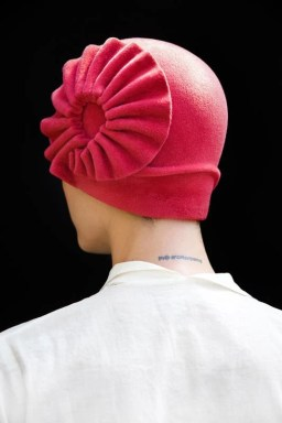 pink accordion cloche