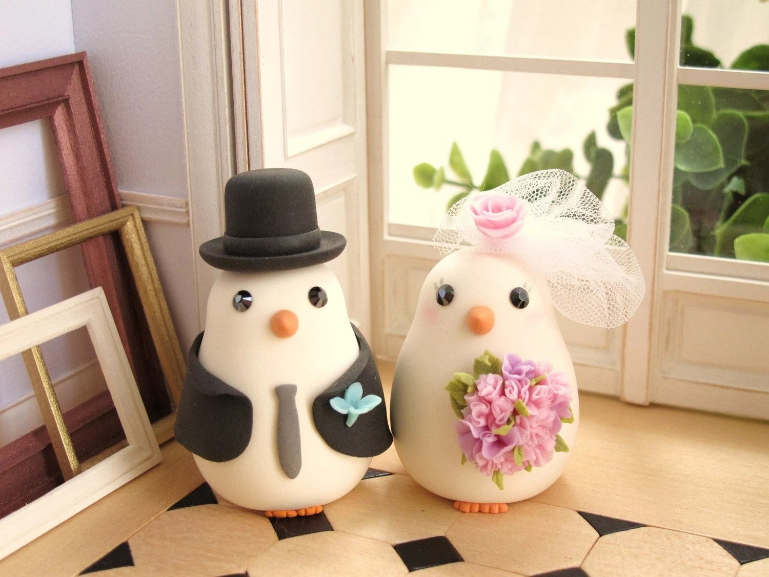 LOVE ANGELS Wedding Cake Topper-love bird with nest