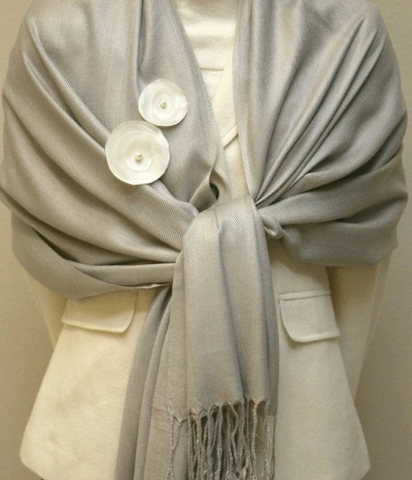 Soft solid grey taupe pashmina bridesmaids shawl, scarf, wrap