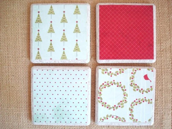 Holiday Birds and Berries-A Vintage Inspired Set by burlap and blue