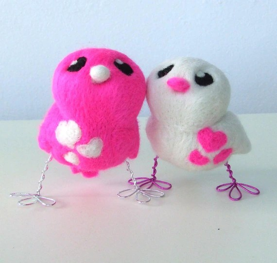 Shocking  Pink and White Love Birds Tweet Needlefelted Wedding Cake Topper