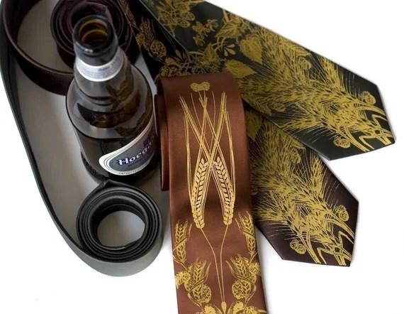 Beer. Hops, barley and wheat screenprinted NARROW microfiber necktie. Mustard yellow ink.