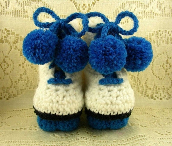Roller Skates Baby Booties (Bright Royal Blue)