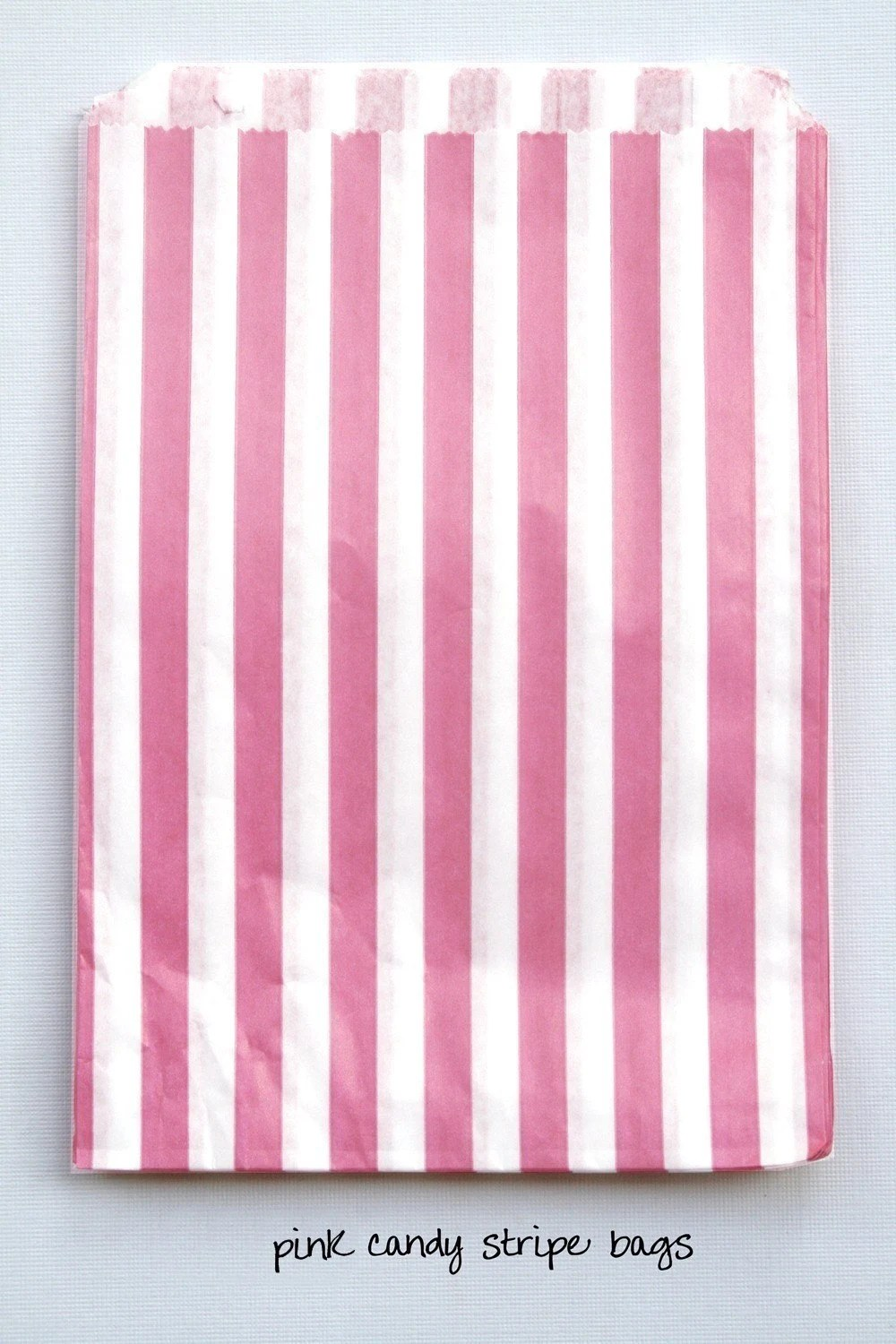 Set of 50 - Traditional Sweet Shop Bright Pink Candy Stripe Paper Bags - 5 x 7 or 5 x 6