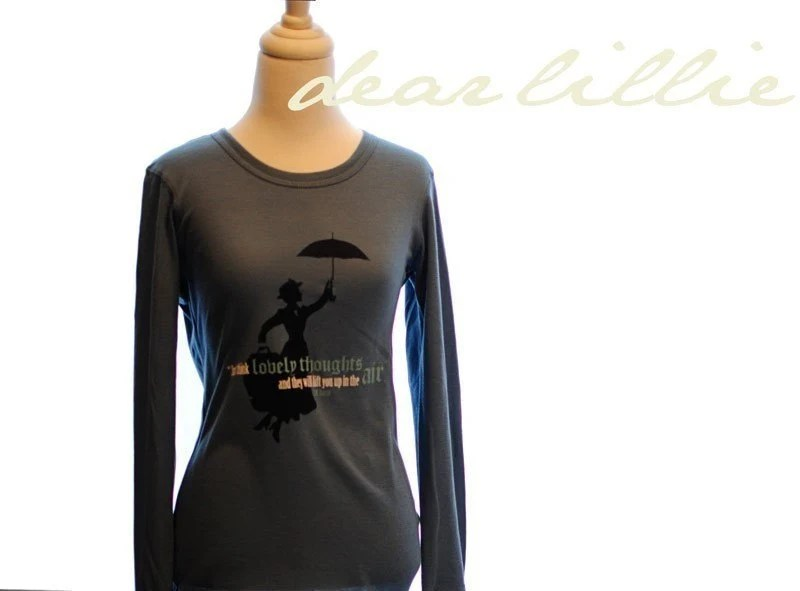 Mary Poppins - Think Lovely Thoughts Thermal Long Sleeve - In Ocean - K