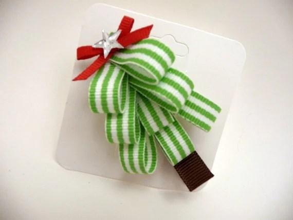 Striped Christmas Tree Hair Clippie