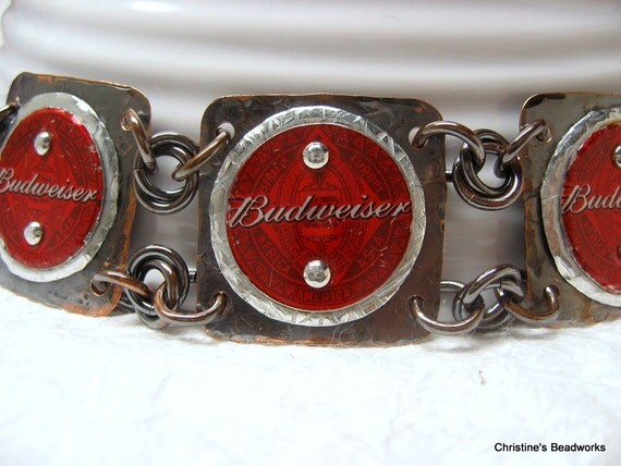 Riveted Bottle Cap Bracelet -- Budweiser Red