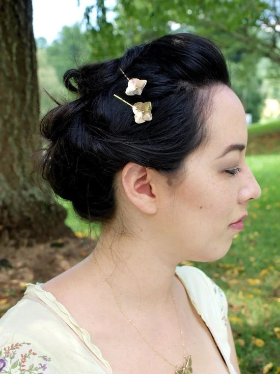 Solid bronze hydrangea blossom hair pins by WoodlandBelle