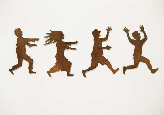 Zombies Chasing Victims Refrigerator Magnets (Any Two) - FREE SHIPPING