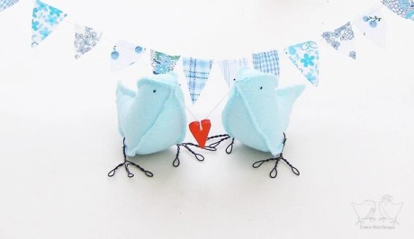 Blue Cotton Fabric Love Birds Wedding Cake Toppers 'i carry your heart with me' Hand stitched by Cotton Bird Designs