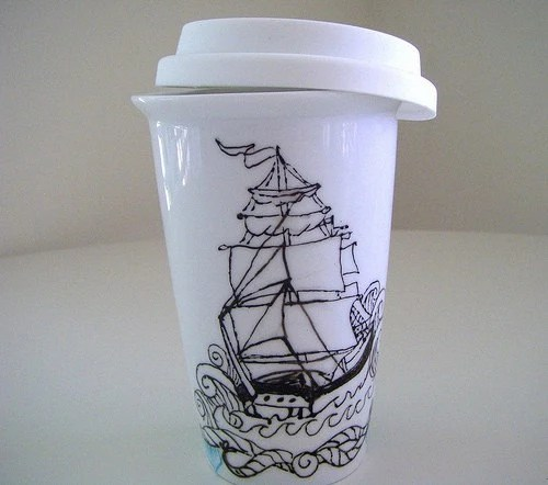Eco Friendly Travel Mug with Lid Hand Painted Ship Tattoo Sailor black and white handmade by sewZinski on Etsy