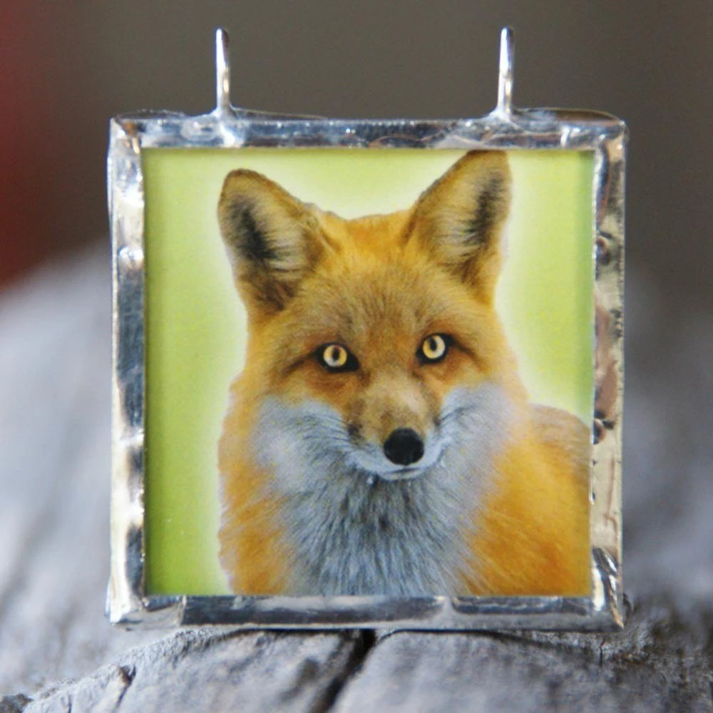 Fox and the Grapes - Silver Framed Reversible Pendant
