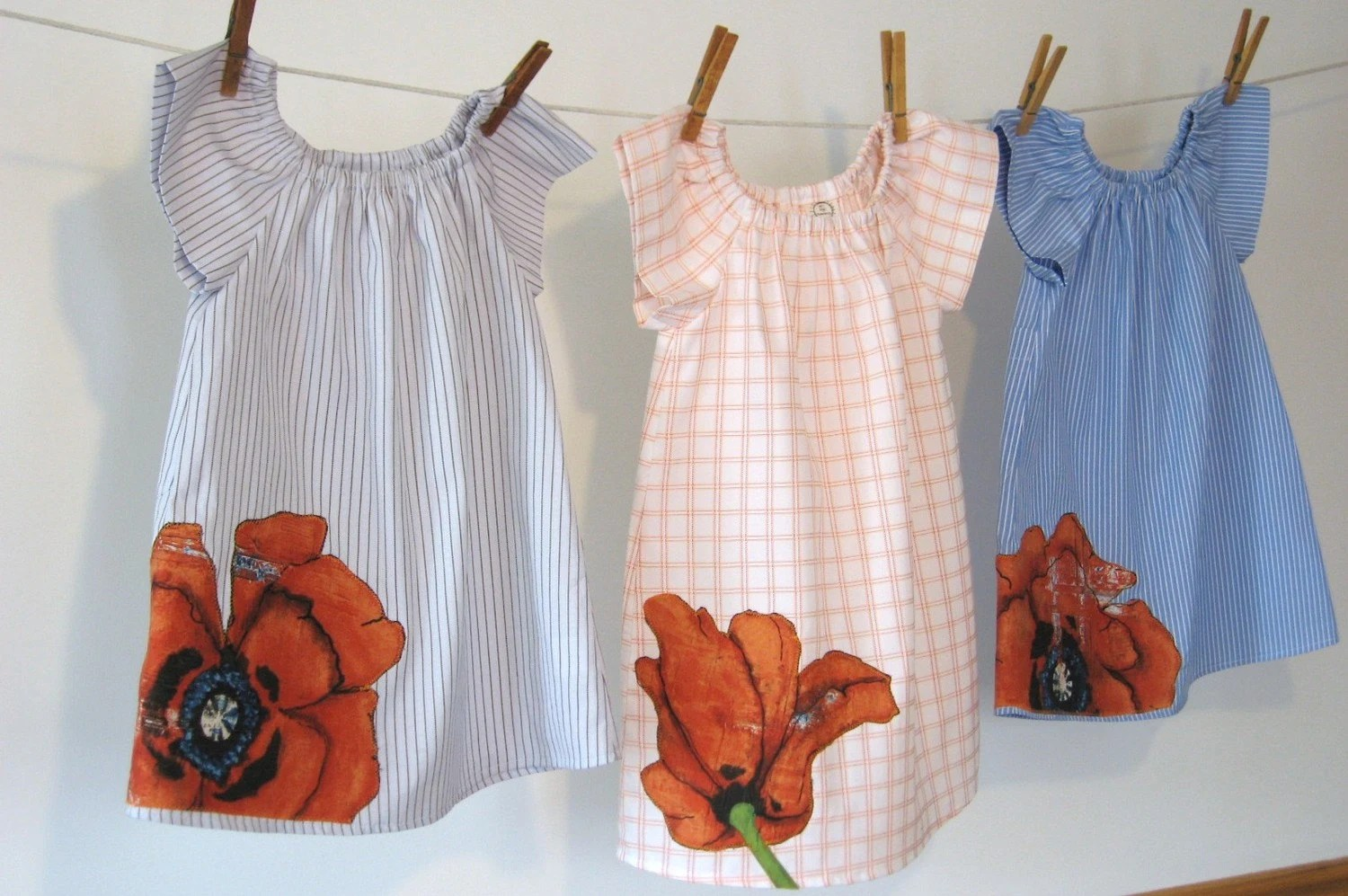 Upcycled poppy dress, sizes 6m - 6, in short sleeve, long sleeve, or 3/4 sleeve, 11161