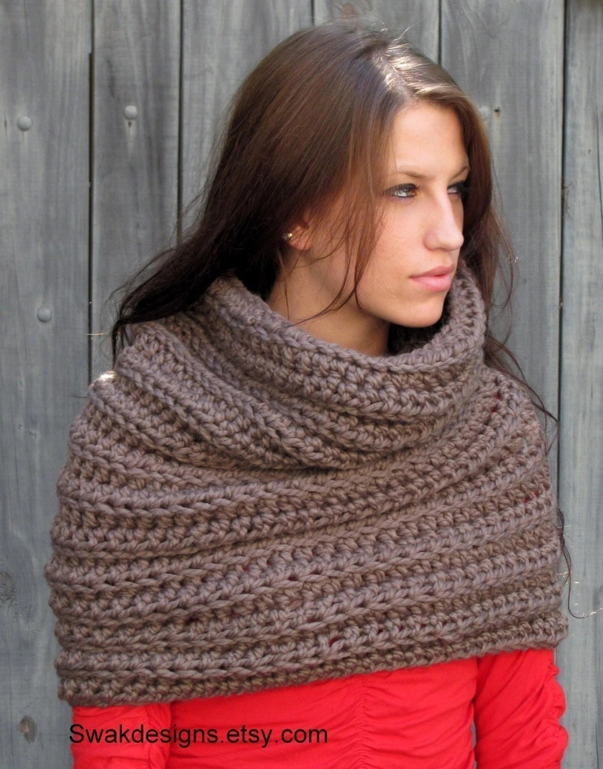 Oversized Noni Tunnel Cowl - Mortar Brown or CHOOSE Your Color - Handmade