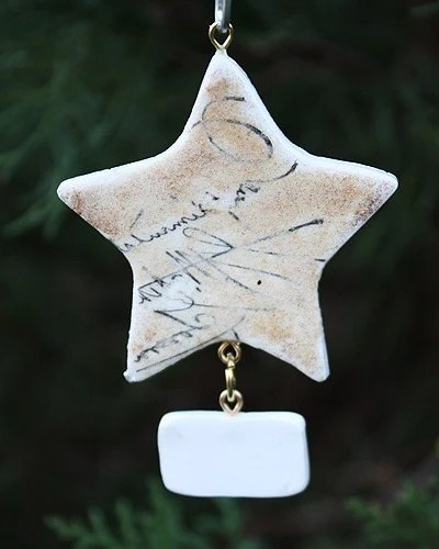 Personalized Holiday french Script and Gold Star Ornament