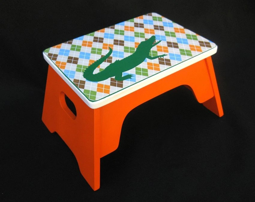 Alligator Childrens Step Stool by Custom Climbers (Orange, Green, Blue, Argyle)