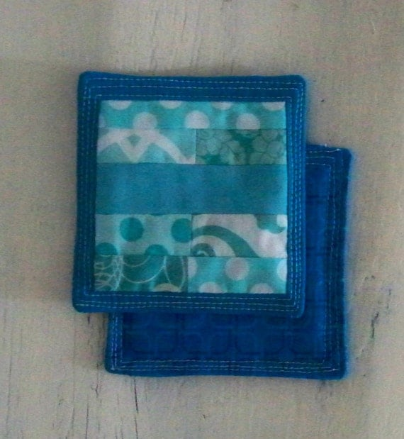 modern turquoise coasters quilted