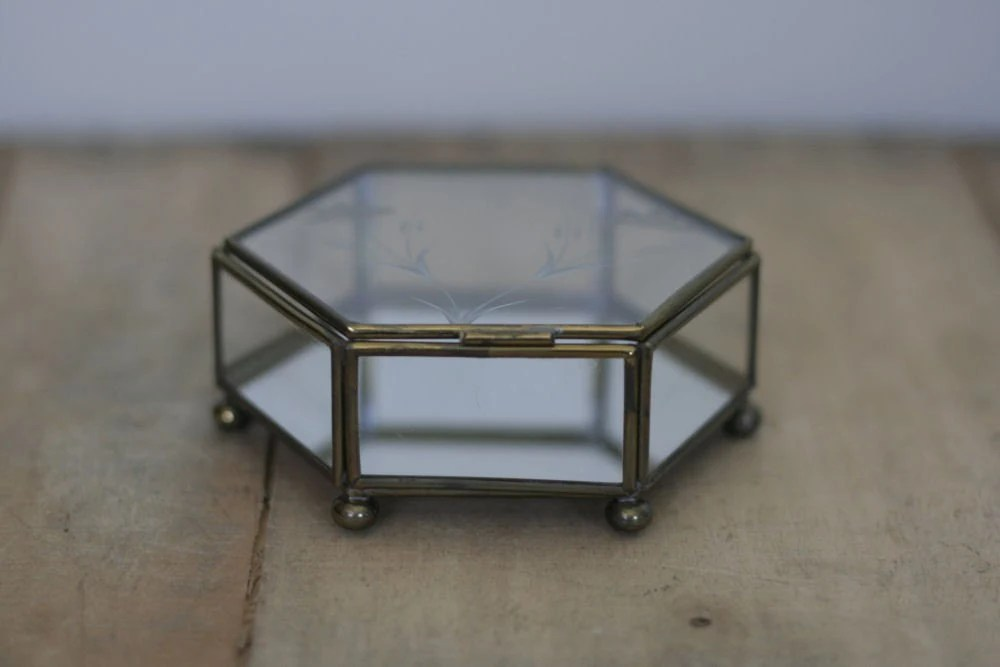 vintage six sided glass box