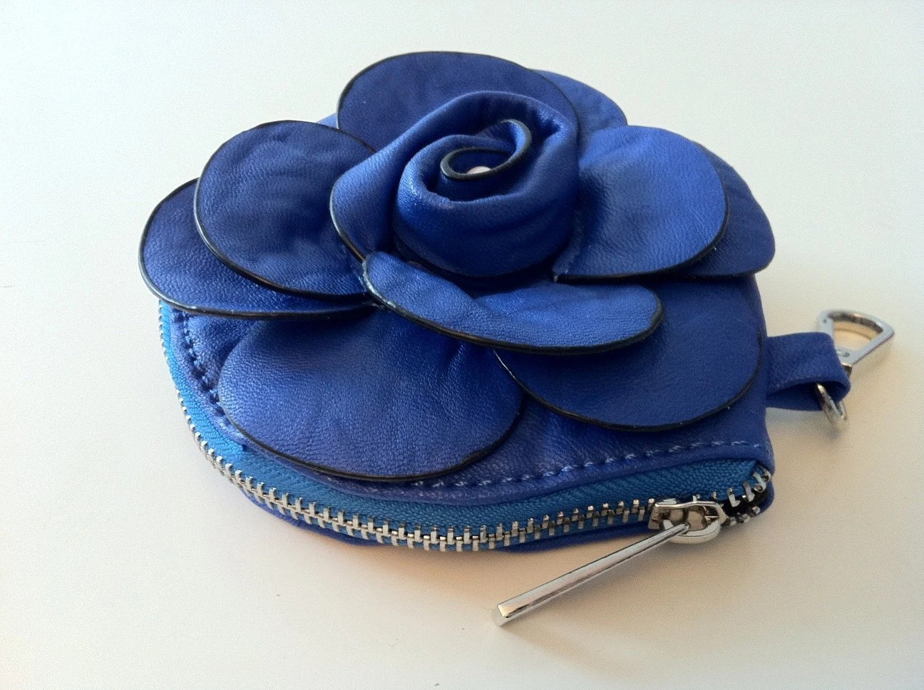 Fashion Rose Leather Coin Purse/ Evening Bag/Clutch/Wallet - Blue