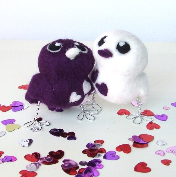 Purple Passion Royal Purple Opposites Love Birds Wedding Cake Topper
