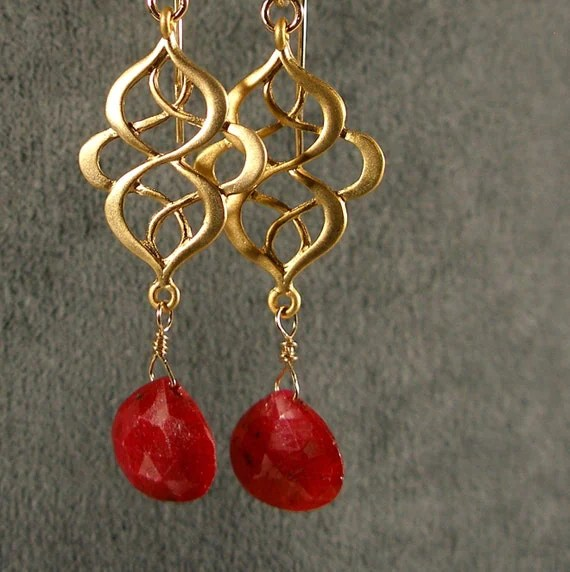 RUBY BRIOLETTES and GOLD Oriental Earrings (242-715)