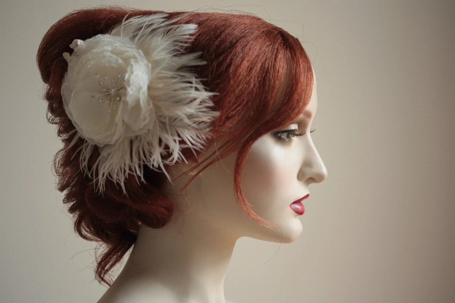 CLARA - Off White -  Light Ivory  Bridal Hair flower with feathers  - Unique handmade vintage bridal headpiece