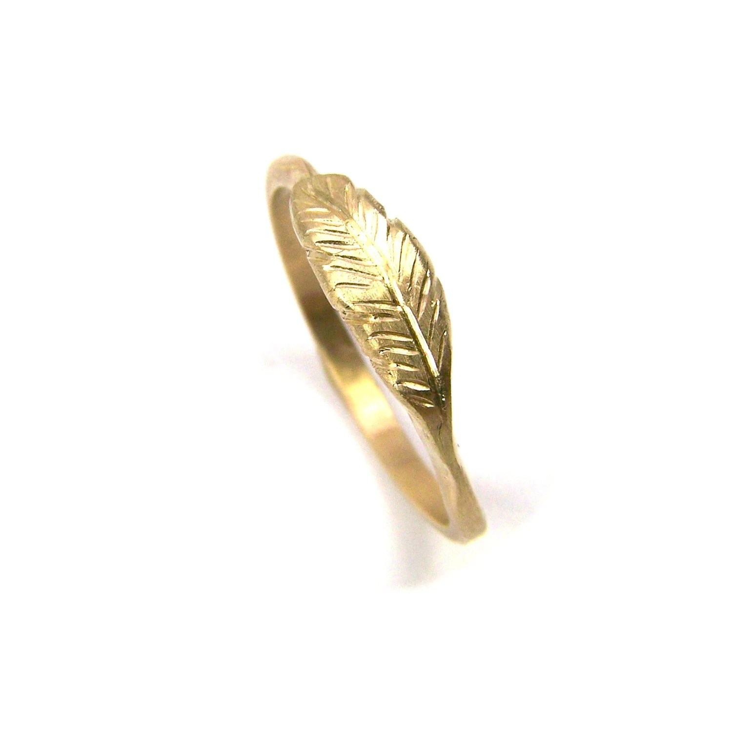 Organic 14K Yellow Gold Feather Ring - Feather's Gold