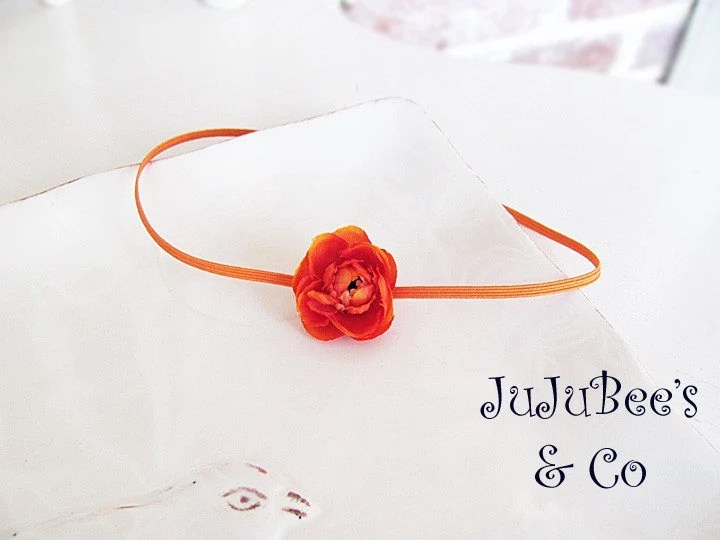 Baby Berry Buds Orange Flower Headband Photography Prop Weddings Flower Girl Newborn Infant